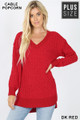 Front image of Dark Red Wholesale Cable Knit Popcorn V-Neck Hi-Low Plus Size Sweater