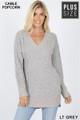 Front image of Light Grey Wholesale Cable Knit Popcorn V-Neck Hi-Low Plus Size Sweater