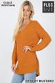 45 degree image of Desert Mustard Wholesale Cable Knit Popcorn V-Neck Hi-Low Plus Size Sweater