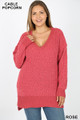 Front image of Rose Wholesale Cable Knit Popcorn V-Neck Hi-Low Plus Size Sweater