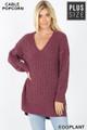 Front image of Eggplant Wholesale Cable Knit Popcorn V-Neck Hi-Low Plus Size Sweater