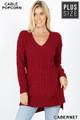 Front image of Cabernet Wholesale Cable Knit Popcorn V-Neck Hi-Low Plus Size Sweater