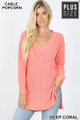 Front image of Deep Coral Wholesale Cable Knit Popcorn V-Neck Hi-Low Plus Size Sweater