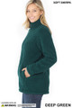 Left side image of Deep Green Wholesale Sherpa Zip Up Jacket with Side Pockets