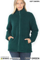 Front of Deep Green Wholesale Sherpa Zip Up Jacket with Side Pockets