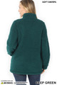 Back side image of of Deep Green Wholesale Sherpa Zip Up Jacket with Side Pockets