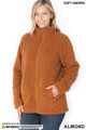 Front of Almond Wholesale Sherpa Zip Up Jacket with Side Pockets