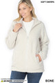 Front of Bone Wholesale Sherpa Zip Up Jacket with Side Pockets