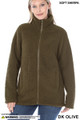 Front of Dark Olive Wholesale Sherpa Zip Up Jacket with Side Pockets