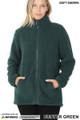 Front of Hunter Green Wholesale Sherpa Zip Up Jacket with Side Pockets