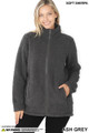 Front of Ash Grey Wholesale Sherpa Zip Up Jacket with Side Pockets