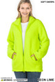 Front Partially Unzipped of Neon Lime Wholesale Sherpa Zip Up Jacket with Side Pockets