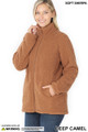 Front of Deep Camel Wholesale Sherpa Zip Up Jacket with Side Pockets
