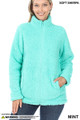 Front of Mint Wholesale Sherpa Zip Up Jacket with Side Pockets