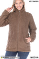 Front of Mocha Wholesale Sherpa Zip Up Jacket with Side Pockets