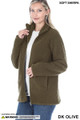 45 degree Unzipped image of Dark Olive Wholesale Sherpa Zip Up Jacket with Side Pockets