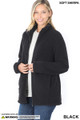 45 degree Unzipped image of Black Wholesale Sherpa Zip Up Jacket with Side Pockets