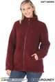 Front of Dark Burgundy Wholesale Sherpa Zip Up Jacket with Side Pockets