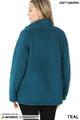 Back side image of Teal Wholesale Sherpa Zip Up Jacket with Side Pockets