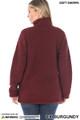 Back side image of of Dark Burgundy Wholesale Sherpa Zip Up Jacket with Side Pockets