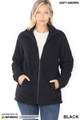 Front Partially Unzipped of Black Wholesale Sherpa Zip Up Jacket with Side Pockets