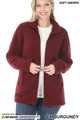 Front Unzipped image of Dark Burgundy Wholesale Sherpa Zip Up Jacket with Side Pockets