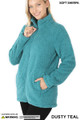 45 degree image of Dusty Teal Wholesale Sherpa Zip Up Jacket with Side Pockets