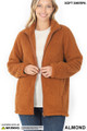 Front Unzipped image of Almond Wholesale Sherpa Zip Up Jacket with Side Pockets
