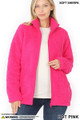 Front Unzipped image of Hot Pink Wholesale Sherpa Zip Up Jacket with Side Pockets