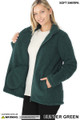 45 degree Unzipped image of Hunter Wholesale Sherpa Zip Up Jacket with Side Pockets