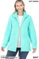 Front Unzipped image of Mint Wholesale Sherpa Zip Up Jacket with Side Pockets