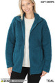 Front Unzipped image of Teal Wholesale Sherpa Zip Up Jacket with Side Pockets