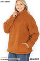 45 degree image of Almond Wholesale Sherpa Half Zip Plus Size Pullover with Side Pockets