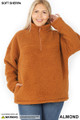 Front of Almond Wholesale Sherpa Half Zip Plus Size Pullover with Side Pockets