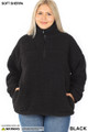 Front of Black Wholesale Sherpa Half Zip Plus Size Pullover with Side Pockets