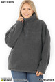 Front of Ash Grey Wholesale Sherpa Half Zip Plus Size Pullover with Side Pockets