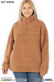 Front of Deep Camel Wholesale Sherpa Half Zip Plus Size Pullover with Side Pockets