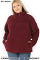 Front of Dark Burgundy Wholesale Sherpa Half Zip Plus Size Pullover with Side Pockets