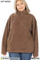 Front of Mocha Wholesale Sherpa Half Zip Plus Size Pullover with Side Pockets
