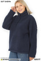 45 degree image of Navy Wholesale Sherpa Half Zip Plus Size Pullover with Side Pockets