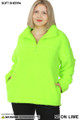 Front of Neon Lime Wholesale Sherpa Half Zip Plus Size Pullover with Side Pockets