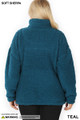 Back side image of Teal Wholesale Sherpa Half Zip Plus Size Pullover with Side Pockets