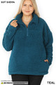 Front of Dark Teal Wholesale Sherpa Half Zip Plus Size Pullover with Side Pockets