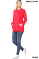 Full body image of Ruby Wholesale Round Crew Neck Sweatshirt with Side Pockets