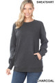 Front image of Charcoal Wholesale Round Crew Neck Sweatshirt with Side Pockets