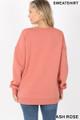 Back image of Ash Rose Wholesale Round Crew Neck Sweatshirt with Side Pockets