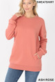 Front image of Ash Rose Wholesale Round Crew Neck Sweatshirt with Side Pockets
