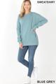 Full body image of Blue Grey Wholesale Round Crew Neck Sweatshirt with Side Pockets