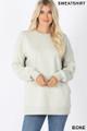 Front image of Bone Wholesale Round Crew Neck Sweatshirt with Side Pockets