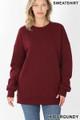 Front image of Dark Burgundy Wholesale Round Crew Neck Sweatshirt with Side Pockets